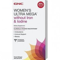 Витамины (для женщин) GNC WOMENS Ultra Mega Without Iron & Iodine (180 caplets)