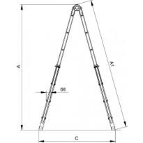 Лестница Elkop B 45 FS (телескоп, металл, раскладная, 1,6-4,4м)
